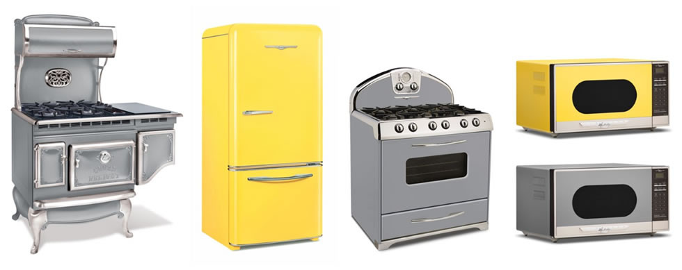 Image of Elmira Stove Works kitchen appliances painted in the 2021 Pantone Color of the Year