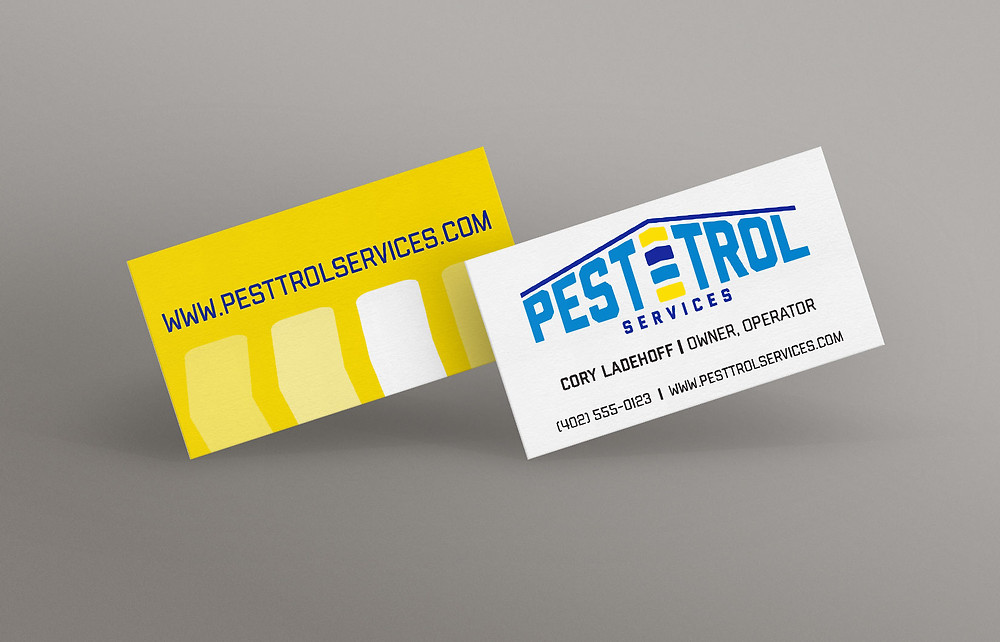 Mockup of pest control company business card by Jeanette Johnson Art and Design.