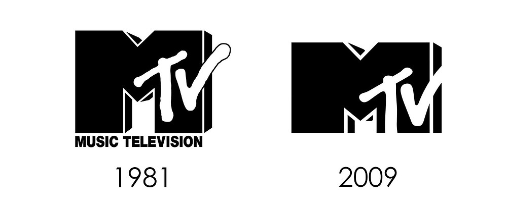 Before and after of MTV logo rebrand
