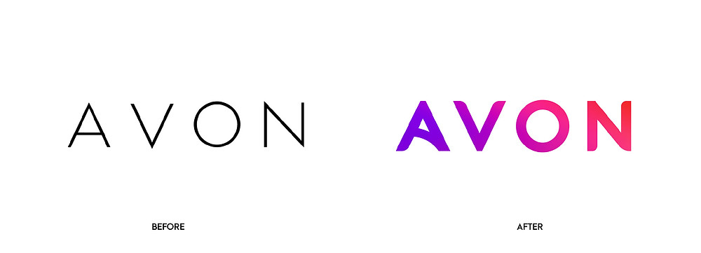 Before and after of AVON logo update using gradients.