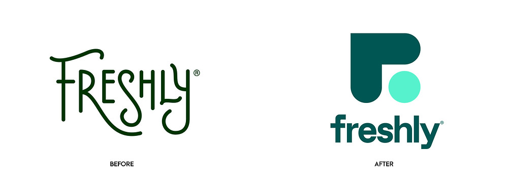 Before and after of Freshly logo redesign.