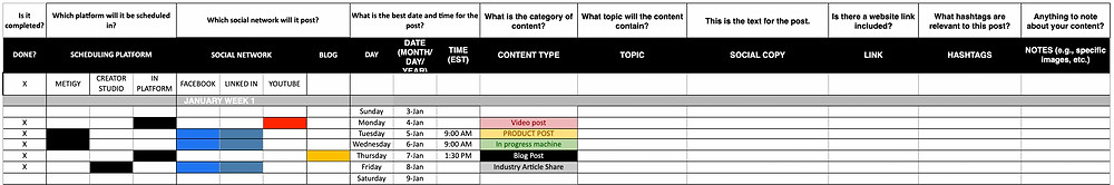 Excel workbook example of content schedule for social media.