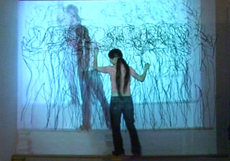 performance, drawing, NaoKo TakaHashi, live link projection, Framing the Frame, Framed, London