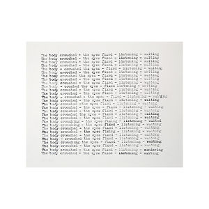 text score, concrete poetry, typed text, NaoKo TakaHashi, The body crouched