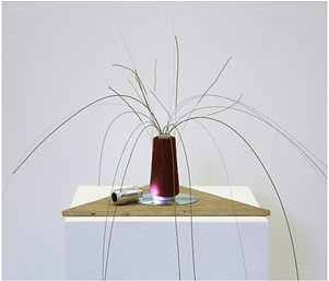 Sculpture, Transmission device for Sending Grandmother's Poem, NaoKo TakaHashi, steel guitar strings