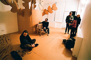 Installation art, exploration of perforated space in four segments of words, NaoKo TakaHashi, Audio, spoken word, cardboard, art