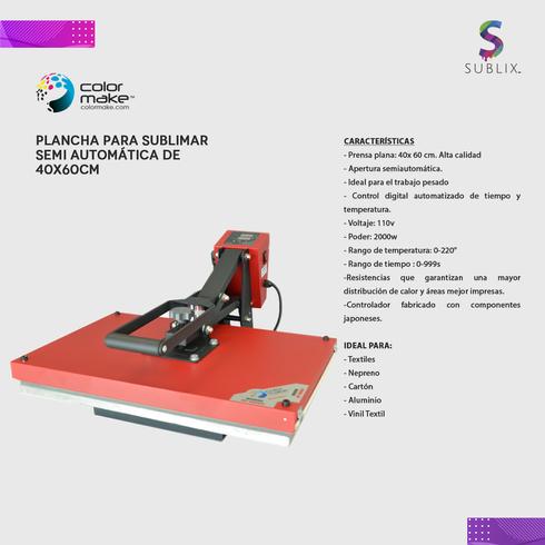 Plancha plana 40x60cm semiautomatica color make