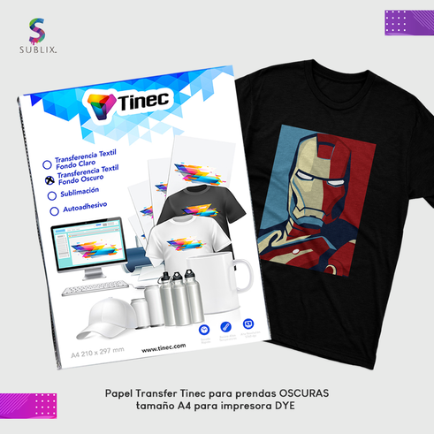 Papel tinec transfer oscuro