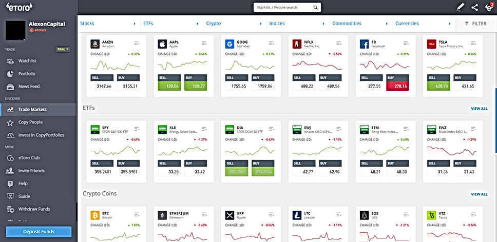 eToro's Trading platform is powerful, yet, it has a great UX.