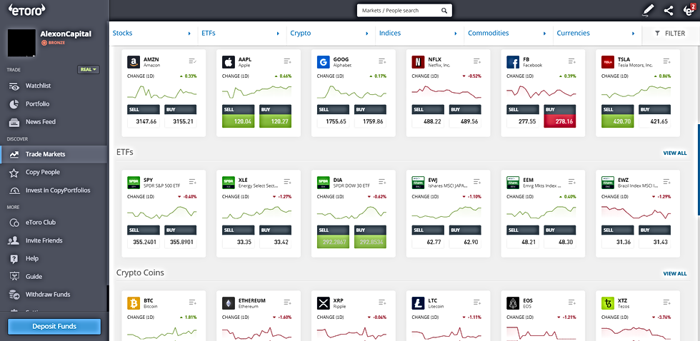 eToro's Platform is optimized for a smooth user experience