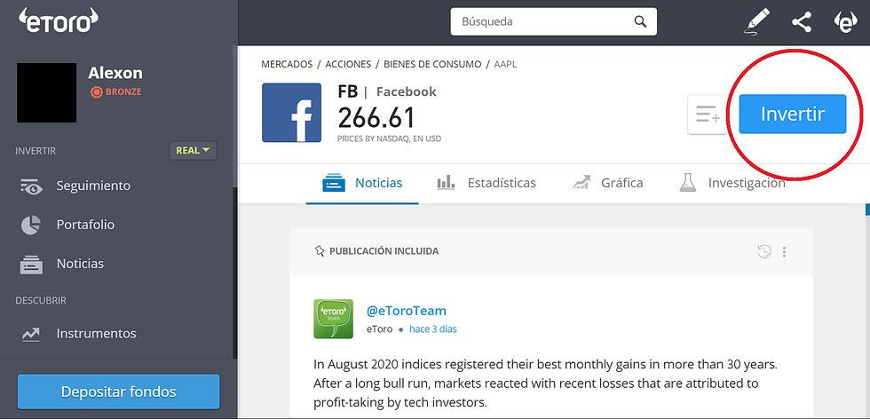 Demostración de la plataforma eToro con la acción de Facebook