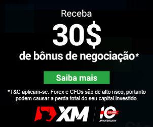 XM oferece um bônus de $ 30 sem depósito