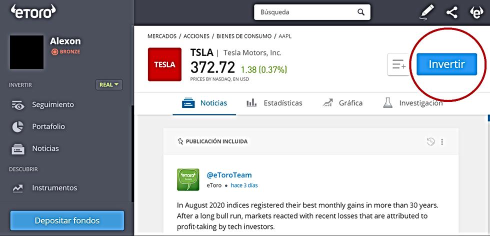 Cómo comprar Acciones de Tesla en la plataforma de eToro