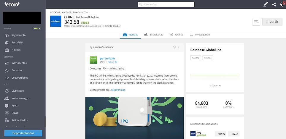La plataforma de Trading de eToro es muy simple de utilizar: Aquí una muestra de la vista sobre las acciones de Coinbase