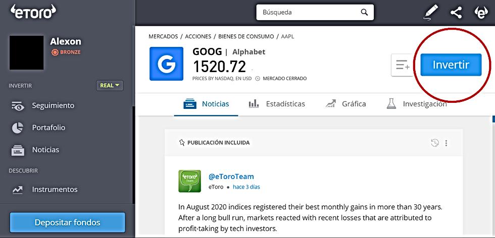 Cómo comprar Acciones de Google en la plataforma de eToro