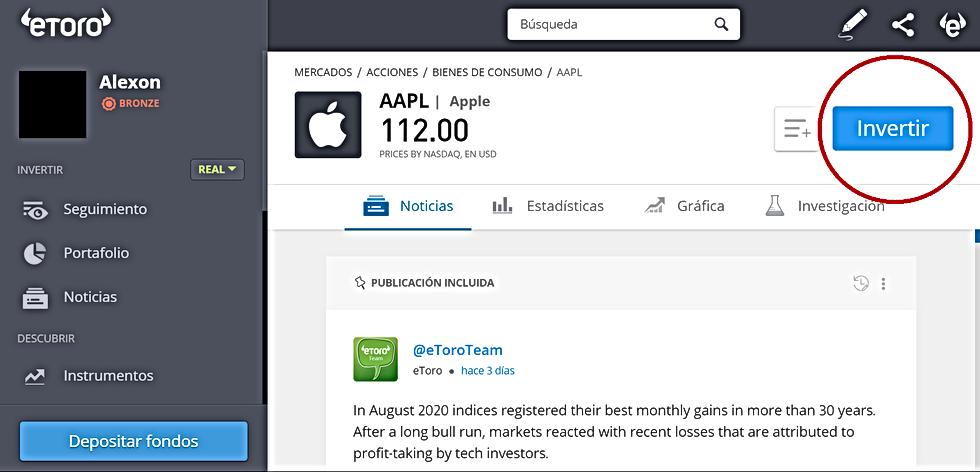 Invertir en, por ejemplo, Acciones de Apple a través de eToro es muy sencillo.