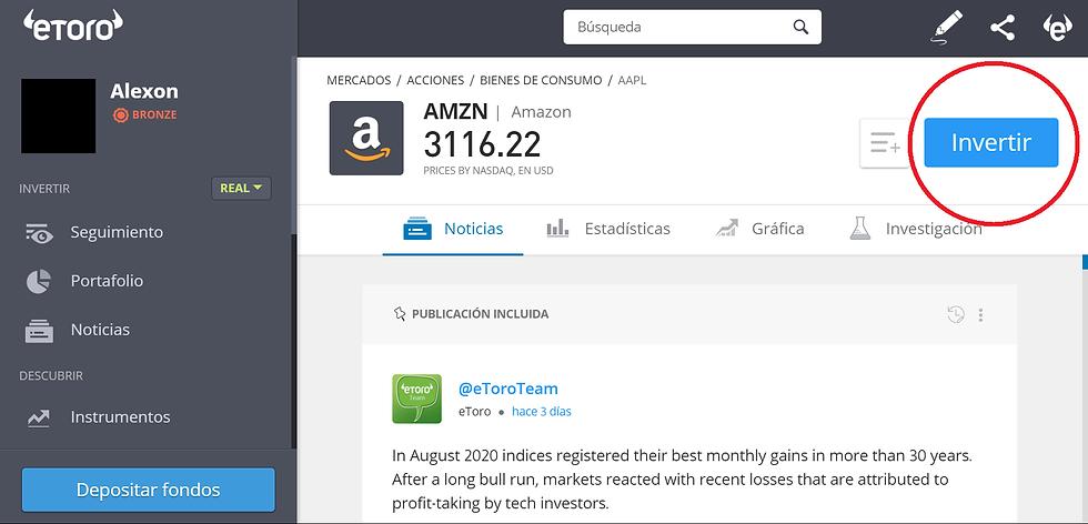 Cómo comprar Acciones de Amazon en Panamá a través de la plataforma de eToro