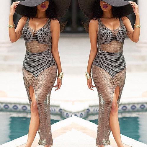Summer Beach Dress Women Mesh Crochet Sleeveless Bikini Cover Up