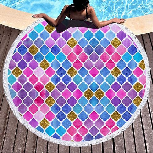 Round Fish Scales Printed Beach Towel Microfiber Shawl Beach Towel