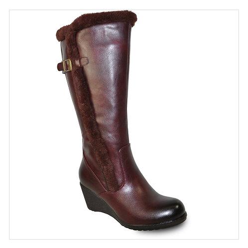 Women Boot  Knee High Winter Fur Casual Boot Bordo Red
