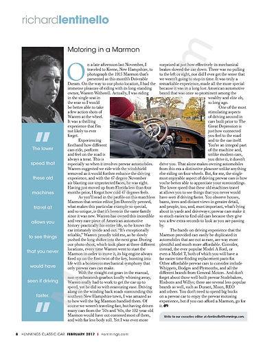 Editors Column, Richard Lentinello, Motoringing in a Marmon