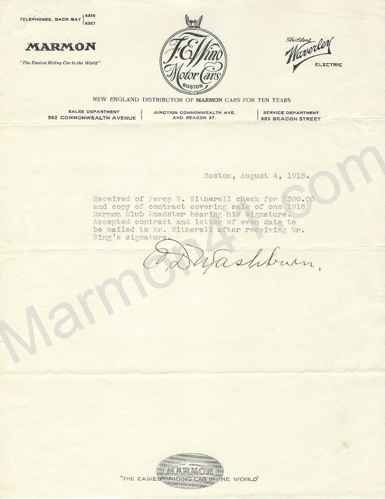 Bill of Sale, 1915 Marmon Model 41, Club Roadster