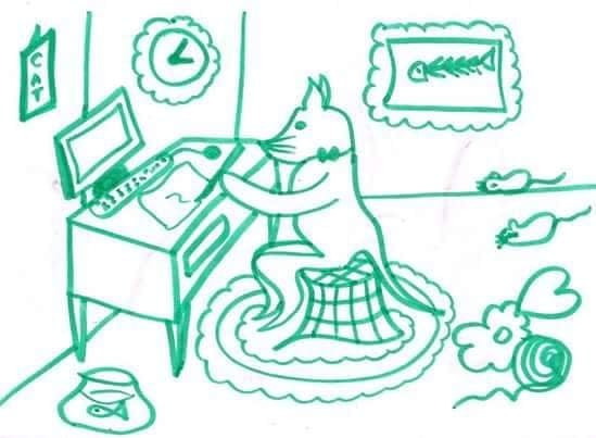 ''Cats think creatively''. The teach people how to get into the groovy life . (Sketch by personal collection).