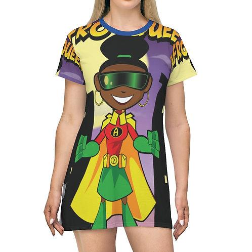 AFRO-QUEEN All Over Print T-Shirt Dress