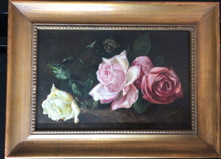 Three Roses Still life Antique Oil Painting on Board by B.L.