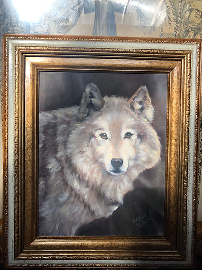 Snow Wolf Oil Painting by Marion Nelson in 1995