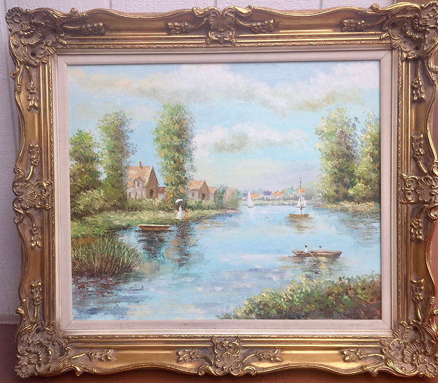 Impressionism Old County Rive Oil Painting