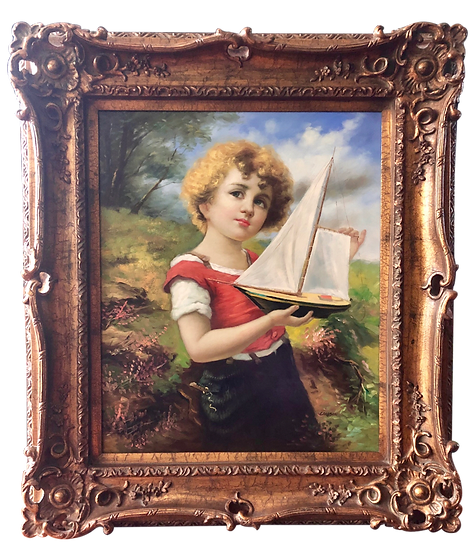 Antique Oil Painting Girl Sail Boat by Carlson