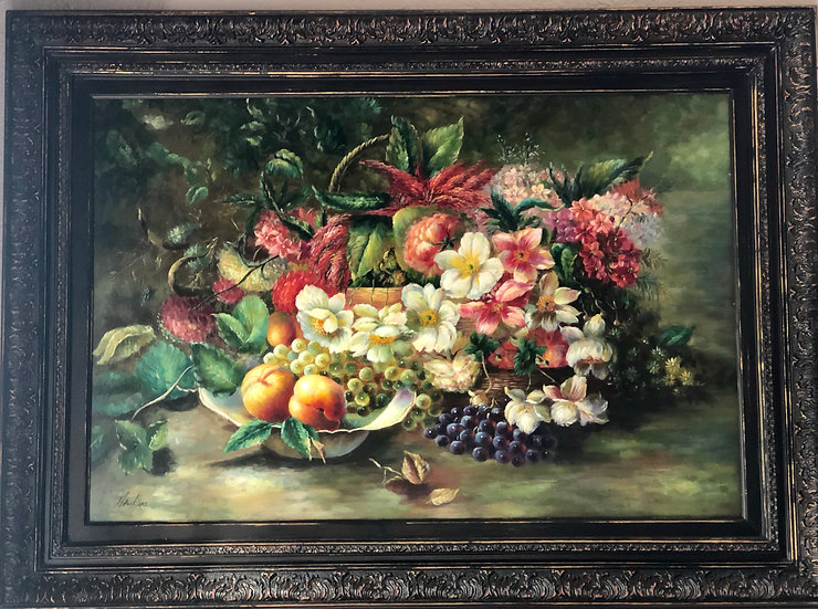 Flowers and Furit Oil Painting by Hawkins