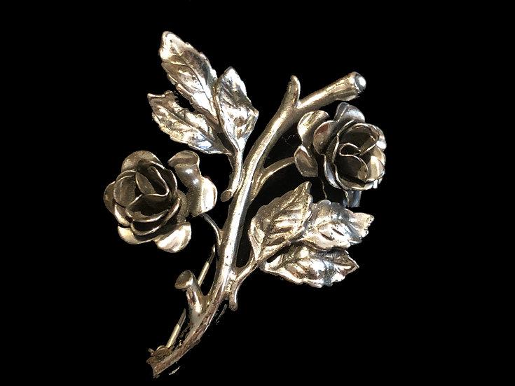 Sterling Silver Flowers Brooch