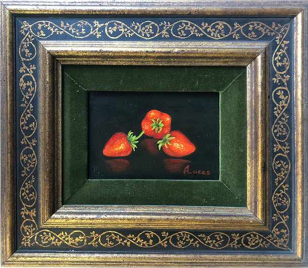 Antique oil Painting Strawberries small framed
