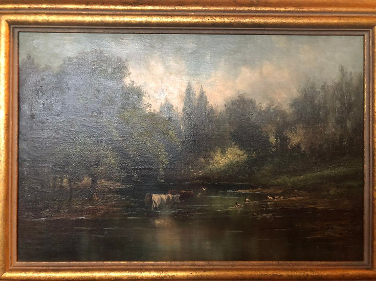Antique Oil Painting Lake moo-cow