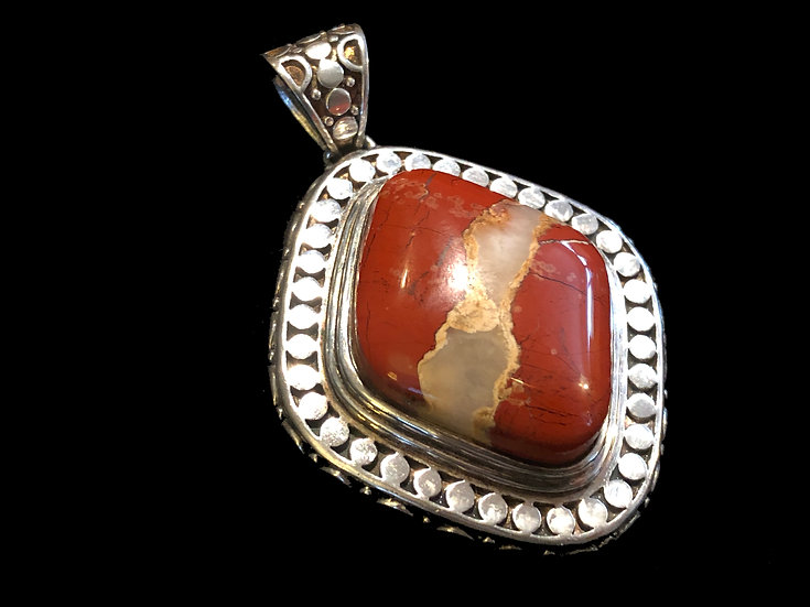 Antique Red Jasper Inlay Sterling SIlver Pendant