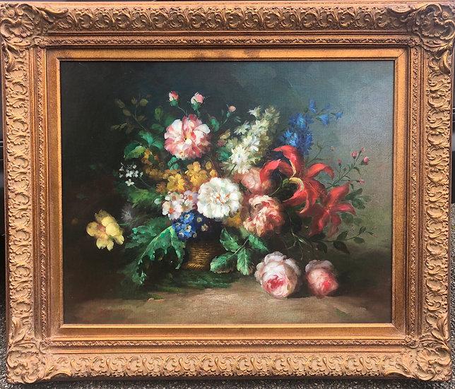 Luxury Framed Oil Painting Flowers Oil on Canvas