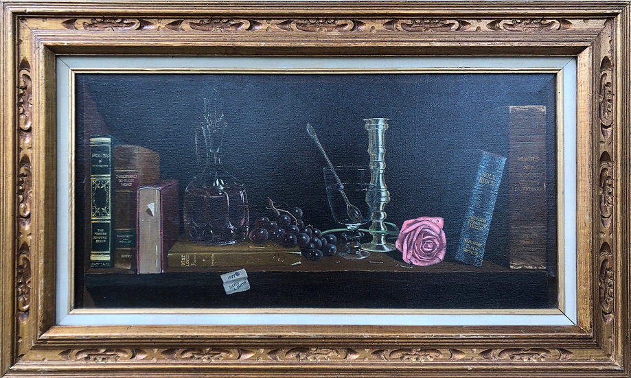 Antique Oil Painting Rose & Books Signed 1977 DAVID A. SMITH