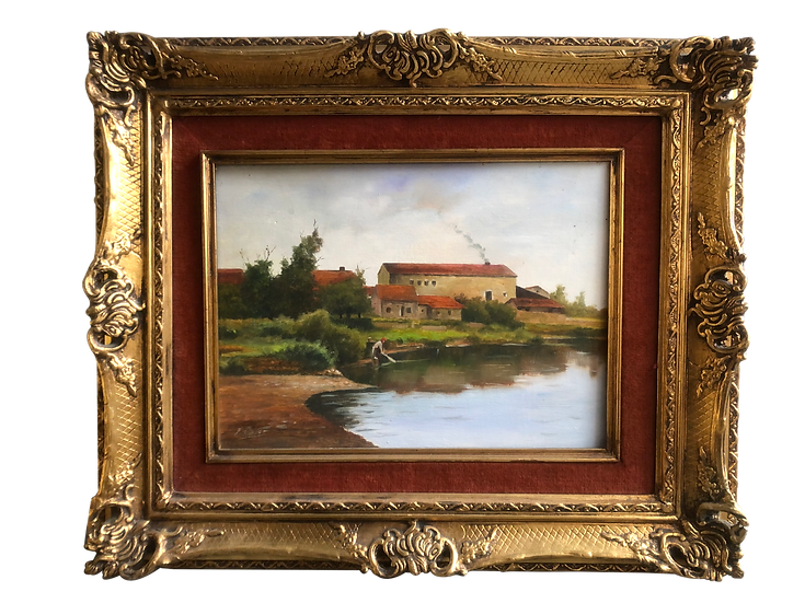 Luxury Framed Oil Painting Washing at River