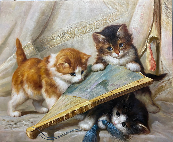 Oil Painting Cats play with an Antique fan
