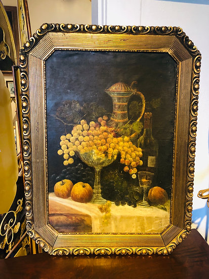 Antique oil painting on board Grapes and wine