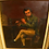 Thumbnail: Antique American 19th century painting of seated man playing a flute