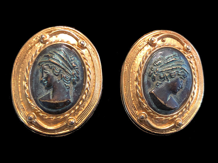 Antique 24K Gold Plate Bronze Portrait Earrings