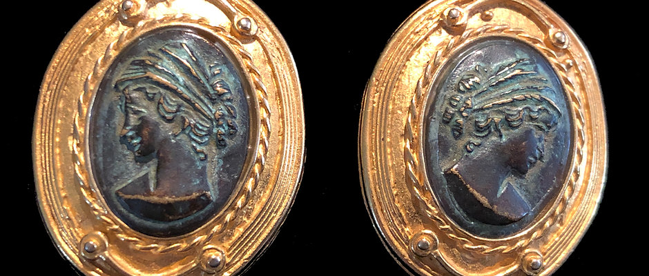 Antique 24K Gold Plate Bronze Portrait Earrings