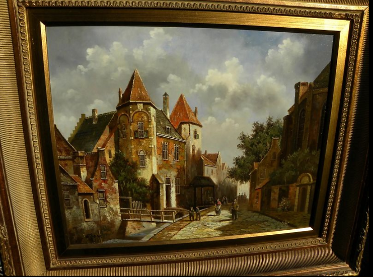 Dutch  city scene painting in 19th century style signed SHONE