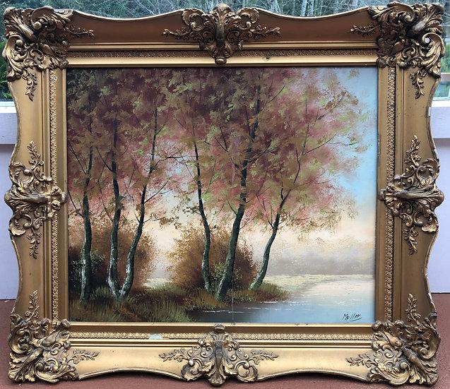Antique  Landscape Maples River by Muller