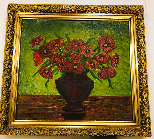 Antique Oil Painting double sides Poppy Flowers