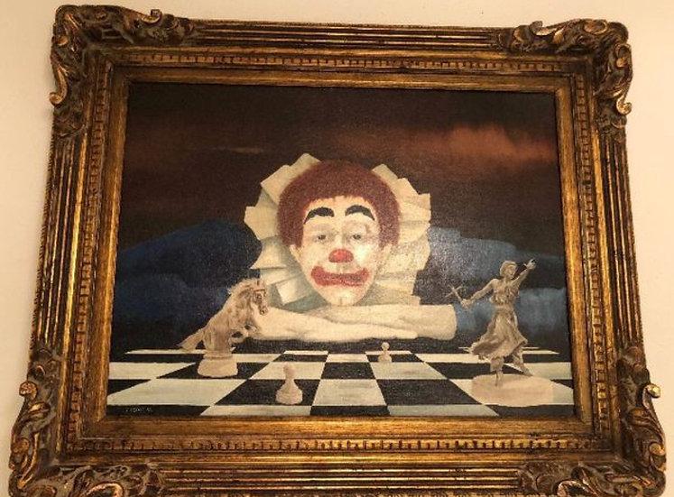 Antique Oil Painting Clown