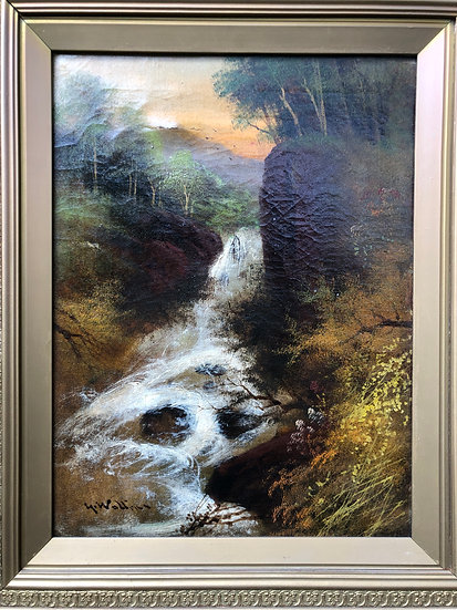 Rare Antique Oil Painting Landscape Waterfall